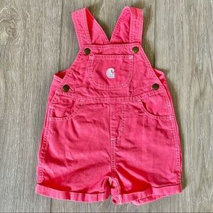 Carhartt Pink Short Overall Rompers 18M